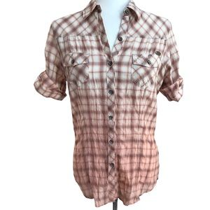 Harley-Davidson Pink Plaid Ombré Button Up Sz S